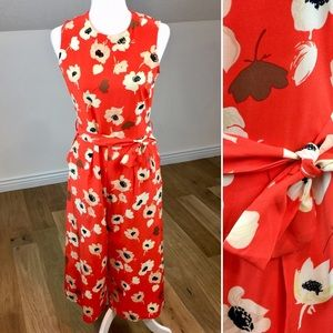 Vintage Orange Floral Cropped Jumpsuit Size M